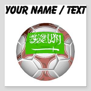 Custom Saudi Arabia Soccer Ball Square Car Magnet
