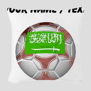 Custom Saudi Arabia Soccer Ball Woven Throw Pillow