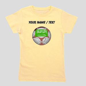 Custom Saudi Arabia Soccer Ball Girl's Tee