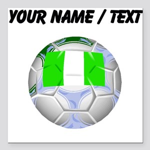 "Custom Nigeria Soccer Ball Square Car Magnet 3"" x"