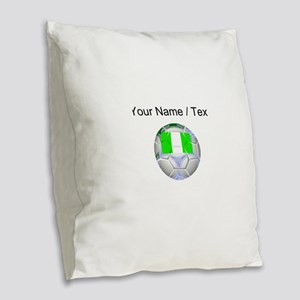 Custom Nigeria Soccer Ball Burlap Throw Pillow