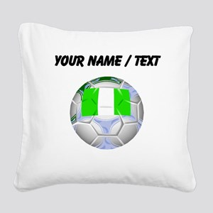 Custom Nigeria Soccer Ball Square Canvas Pillow