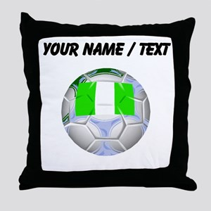 Custom Nigeria Soccer Ball Throw Pillow