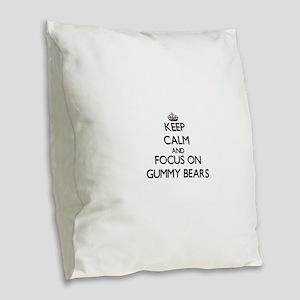 Keep Calm by focusing on Gummy Burlap Throw Pillow