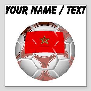 "Custom Morocco Soccer Ball Square Car Magnet 3"" x"