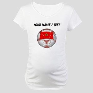 Custom Morocco Soccer Ball Maternity T-Shirt