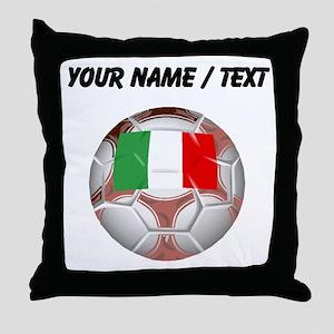 Custom Italy Soccer Ball Throw Pillow
