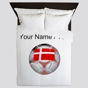 Custom Denmark Soccer Ball Queen Duvet
