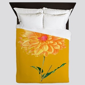 Botanical Yellow Dahlia Queen Duvet