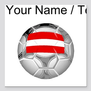 "Custom Austria Soccer Ball Square Car Magnet 3"" x"