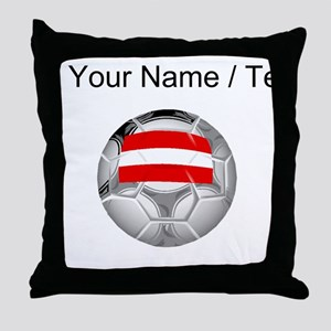 Custom Austria Soccer Ball Throw Pillow