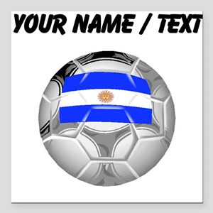 Custom Argentina Soccer Ball Square Car Magnet 3""
