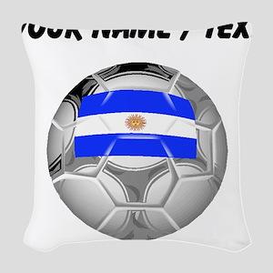 Custom Argentina Soccer Ball Woven Throw Pillow