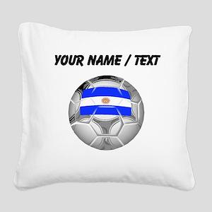 Custom Argentina Soccer Ball Square Canvas Pillow