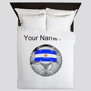 Custom Argentina Soccer Ball Queen Duvet