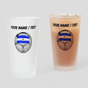 Custom Argentina Soccer Ball Drinking Glass