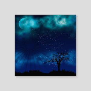 "Blue Moon Night Square Sticker 3"" x 3"""