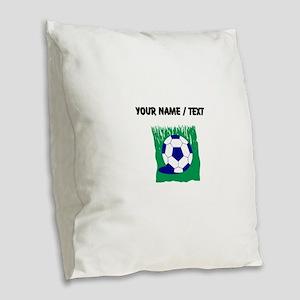Custom Soccer Ball In Grass Burlap Throw Pillow