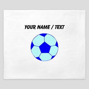 Custom Blue Soccer Ball King Duvet
