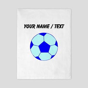 Custom Blue Soccer Ball Twin Duvet