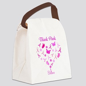Think Pink, Believe Canvas Lunch Bag