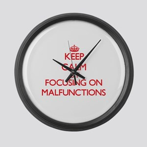 Keep Calm by focusing on Malfunct Large Wall Clock