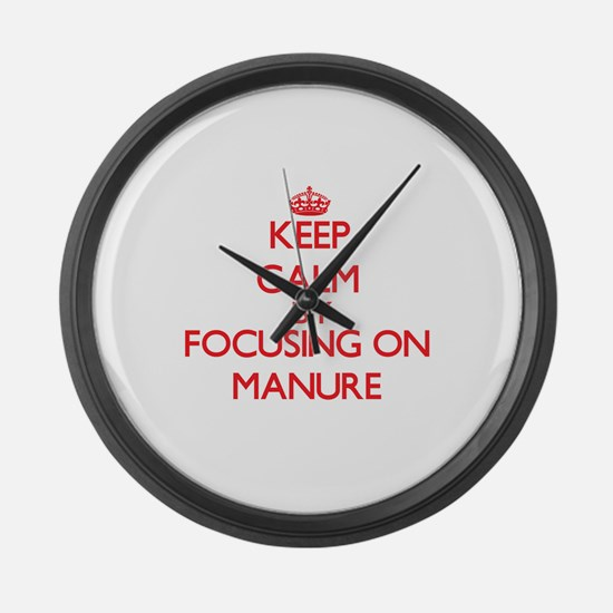 Keep Calm by focusing on Manure Large Wall Clock