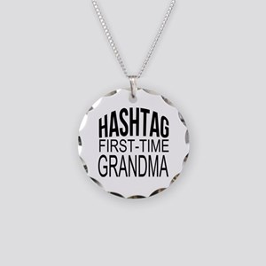 First Time Grandma Necklace Circle Charm