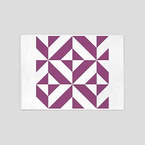 Warm Grape Geometric Cube Pattern 5'x7'Area Rug