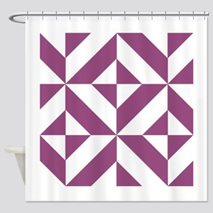 Warm Grape Geometric Cube Pattern Shower Curtain