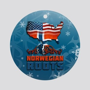 Norwegian American Christmas Ornament (Round)