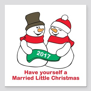 "2017 Newlyweds Square Car Magnet 3"" x 3"""