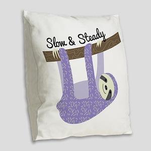 Slow & Steady Burlap Throw Pillow