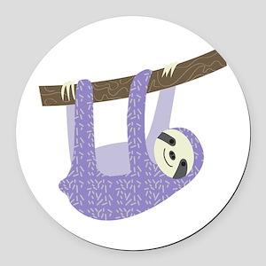 Tree Sloth Round Car Magnet