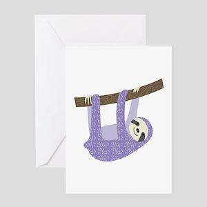 Tree Sloth Greeting Cards