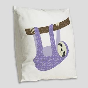 Tree Sloth Burlap Throw Pillow