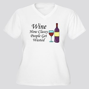 Wine Classy People Wasted Plus Size T-Shirt