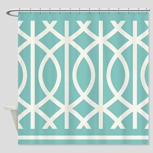 Aqua Art Deco curved Shower Curtain