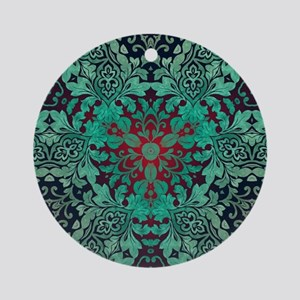rustic bohemian damask pattern Ornament (Round)