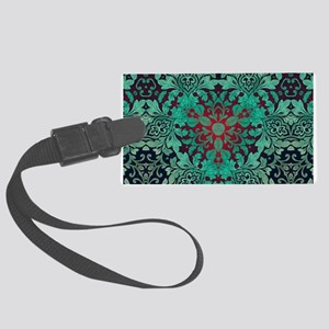 rustic bohemian damask pattern Large Luggage Tag
