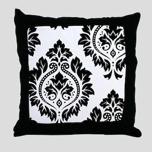 Decor Damask Art I BW Throw Pillow