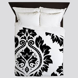Decor Damask Art I BW Queen Duvet