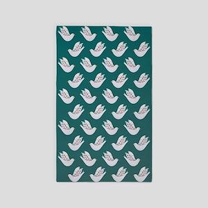 Doves on Aquamarine Sky 3'x5' Area Rug