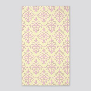 Carnation Pink & Cream Damask 41 3'x5' Area Rug