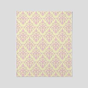 Carnation Pink & Cream Damask 41 Throw Blanket