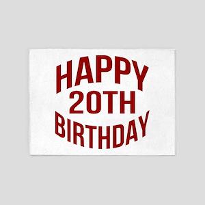Happy 20th Birthday 5'x7'Area Rug