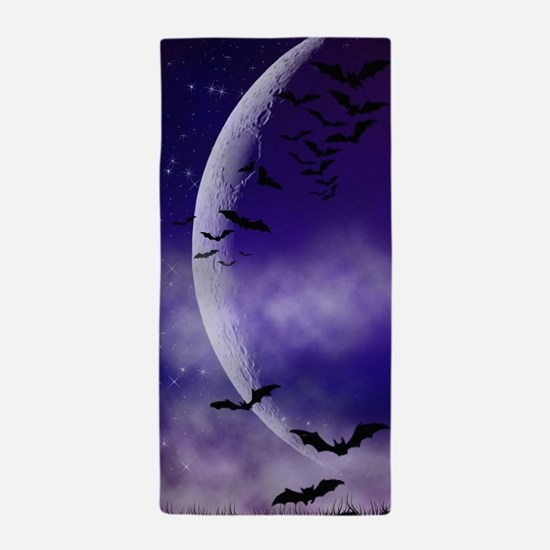 Purple Full Moon Night Bats Beach Towel