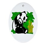 Mommy & Baby Panda Oval Ornament