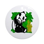 Mommy & Baby Panda Round Ornament