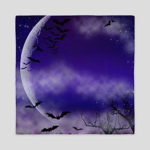 Purple Full Moon Night Bats Queen Duvet